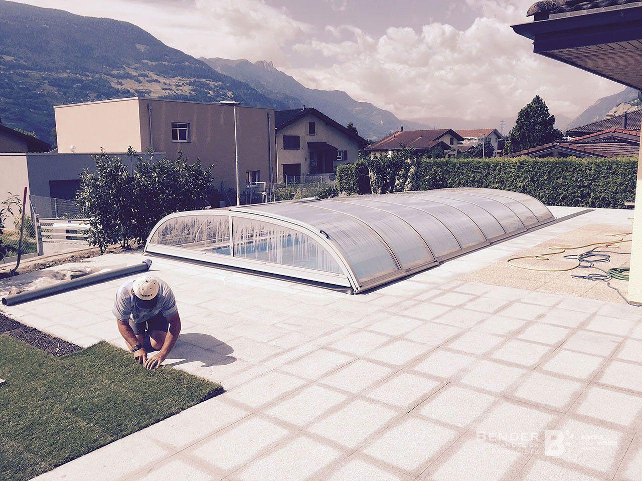 Cr ation d 39 une piscine avec abris nos r alisations for Creation de piscine